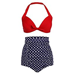 WUKE High Waist Retro Bikini Swimsuit Swimwear with Bottom and Top