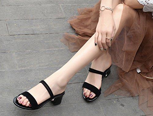 Classique Noir Coupe Ouverte Talon Moyen Plage Mules Femme Aisun 5PvwqS
