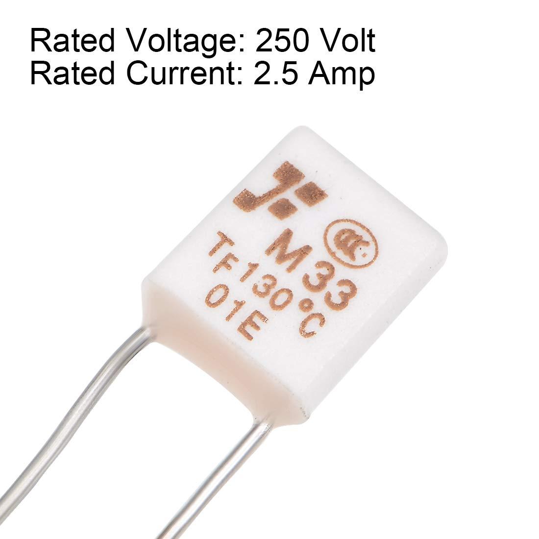 Sourcingmap 250 V, control de temperatura Fusible t/érmico 1A 130C 20pcs