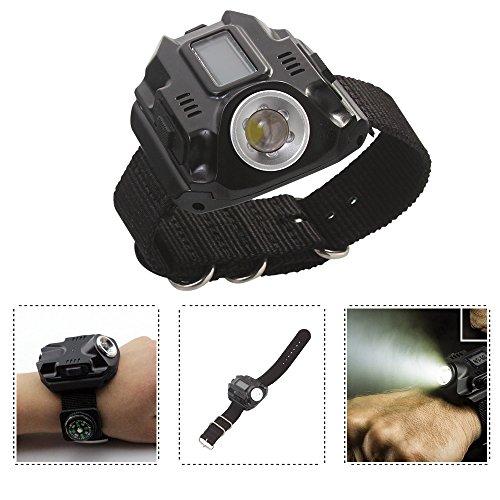 MUMENG 1X Uhrenarmband LED taschenlampe Wasserdichte Outdoor Taschenlampe Wiederaufladbare 3W 200LM für Outdoor Camping Wandern Angeln
