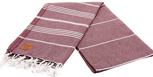 Gold Case LYCIA 100% Cotton pestemal - Bath & Beach Multi-Purpose Turkish Towel/Throw - 39x70(100x180cm) Peshtemal (Burgundy v2) by Gold Case