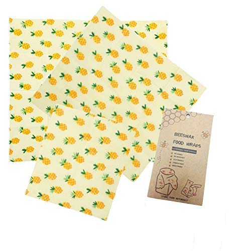 Hgrope Reusable Plastic-Free Beeswax Food Storage Wrap with Natural Organic Ingredients Suit for Store Fruit Bread and Leftover, Pack of 3, Yellow -