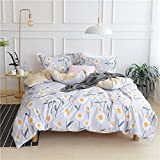 Sunflower Printed Pattern Students Duvet Cover Set Twin Size with 2 Pillow Shams for Boys and Girls, Floral Style Egyptian Cotton Hotel Quality Bedroom/Dormitory Bedding Set Collection by LifeTB