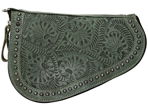 American West Tolled Leather Padded Gun Case - Turquoise