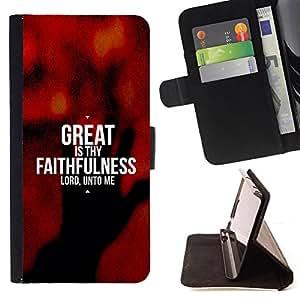 BullDog Case - FOR/HTC Desire 820 / - / GREAT IS THY FAITHFULNESS /- Monedero de cuero de la PU Llevar cubierta de la caja con el ID Credit Card Slots Flip funda de cuer