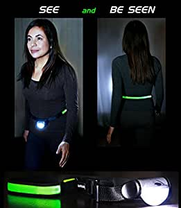 """LIGHTWALKER Plus- 2Lights One Belt. Great gift for night walks. 18LED battery-operated light on a USB Rechargeable LED Belt, more visible than reflective belts. More Comfortable than Headlamps 33""""-45"""""""
