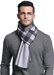 RIONA Men's Australian Merino Wool Plaid Knitted Scarf - Soft Warm Gentleman Neckwear with Gift Box(Light