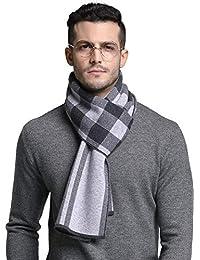 RIONA Men's Australian Merino Wool Plaid Knitted Scarf - Soft Warm Gentleman Neckwear with Gift Box(Light Grey Plaid)
