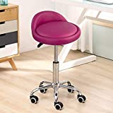 KKTONER PU Leather Round Rolling Stool with Back