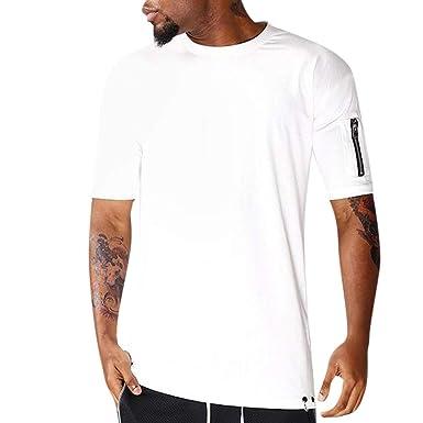 LEORTKS Camiseta Color Sólido Hombre, Camisetas Verano Moda Cremallera Manga Corta Camiseta Casual Cómodo Camiseta: Amazon.es: Ropa y accesorios