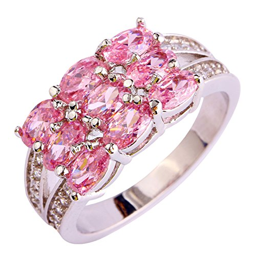 Narica Womens Oval Cut Pink Topaz Cubic Zirconia CZ Stacking Band Cocktail Ring