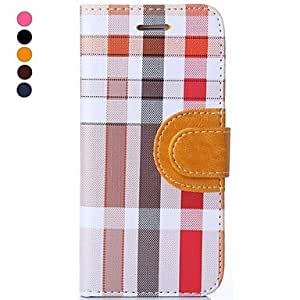 LCJ Hat-Prince Irregular Plaid Pattern High Quality Protective Smart Case with Stand for iPhone 6 (Assorted Colors) , Brown