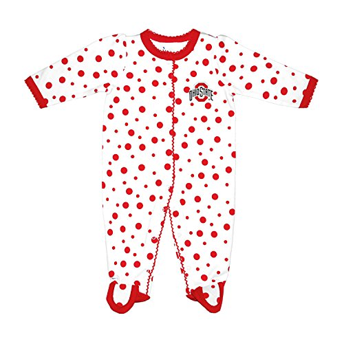 NCAA Ohio State Buckeyes Infant Polka Dot Footed Creeper Dress, 6 months, Red