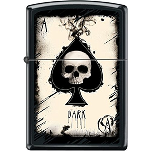 Zippo Dark Ace of Spades Skull Black Matte Lighter