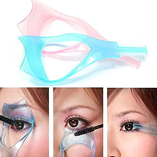 2Pcs Plastic 3 in 1 Makeup Cosmetic Eyelash Tool Upper Lower Eye Lash Mascara Guard Applicator Guide Helper with Eyelash Comb
