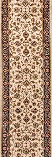 Noble Sarouk Ivory Persian Floral Oriental Formal Traditional Rug 2x7 ( 2'3