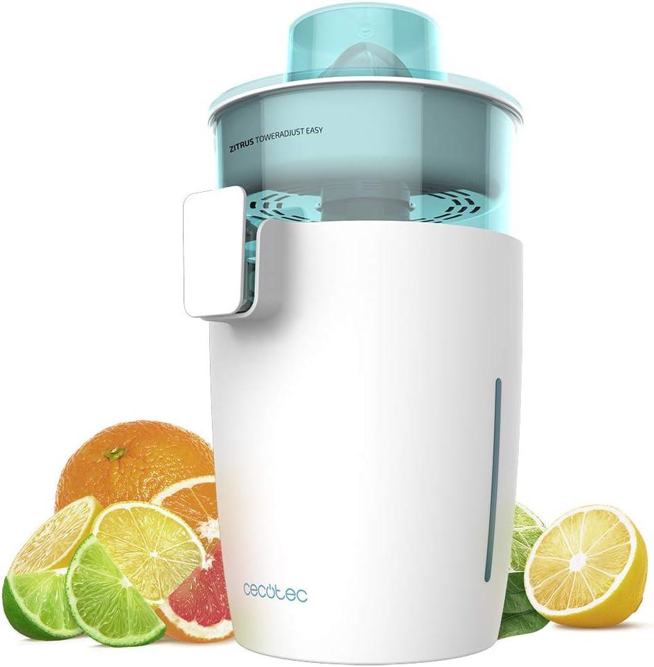 Cecotec exprimidor eléctrico Zitrus TowerAdjust Easy. Potencia 350 W,Filtro regulador de Pulpa,2 Conos Desmontables de Diferente tamaño, Tambor Libre de BPA, Capacidad de 0,5 L (Blanco)