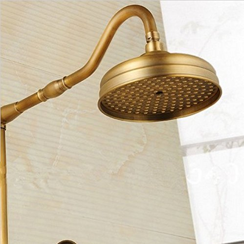 GOWE Luxury Antique Brass Wall Mounted Shower Set 8