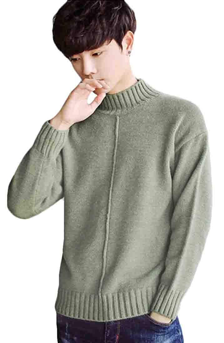 yibiyuan Mens Warm Mockneck Long Sleeve Light Pullover Sweater