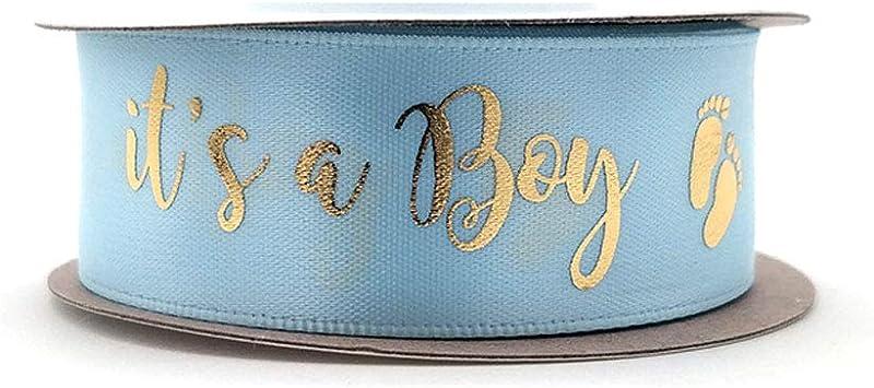 Its a Boy Blue Baby Printed Grosgrain Ribbon 78\u201d 22mm Elephant with Umbrella Decorating Crafts Ribbon