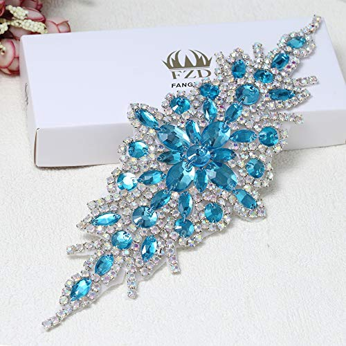 Rhinestone Applique for Wedding Dress Belt Embellishment (Light Blue) ()