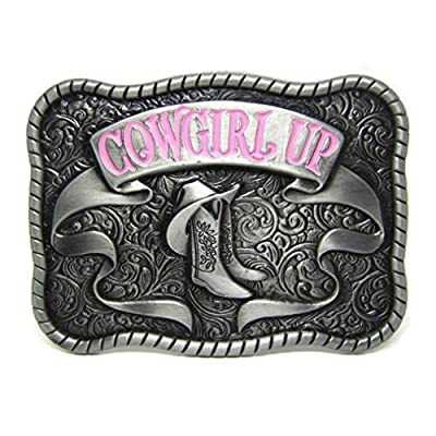 MASOP Country Western Boots Cowgirl Pink Belt Buckles Women Girls Smooth Buckle