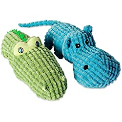 DII Bone Dry Jungle Friends Squeaking Dog Toy, 2 piece Set Heidi Hippo & Sam Alligator Plush Pet Toy for Small, Medium and Large Dogs