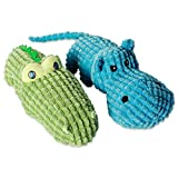 Bone Dry DII Jungle Friends Squeaking Dog Toy, 2 Piece Set Heidi Hippo & Sam Alligator Plush Pet Toy for Small, Medium and Large Dogs
