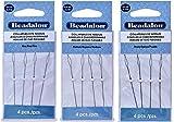 3 Packs - Beadalon Collapsible Eye Needles 2.5'' Fine, Medium & Heavy - 4pcs/pk - Total 12 Needles (in Rigid Pak TM mailer)