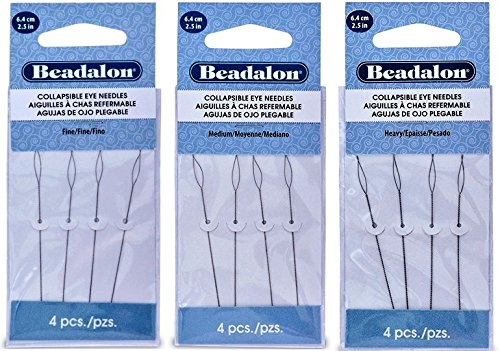 3 Packs - Beadalon Collapsible Eye Needles 2.5'' Fine, Medium & Heavy - 4pcs/pk - Total 12 Needles (in Rigid Pak TM mailer) by Beadalon