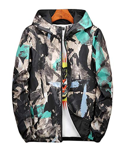 Wear Jacket Hooded Fashion And Casual Jacket Both Camouflage Men's Size Large M Autumn Winter 3XL On Green Sides qAwzzgx