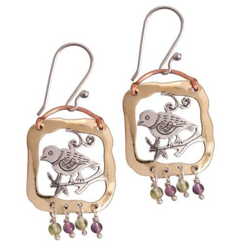 """Earrings, Sweet Bird Vignette; by Nepalese Buddhist Artisans; 1 1/2"""" high"""