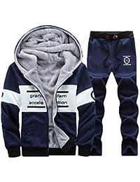 d98d4edf34d Mens Fleece Warm Patchwork Sports Jogging Tracksuit Top   Bottoms Set Gym  Hoodies Sweatsuit Set