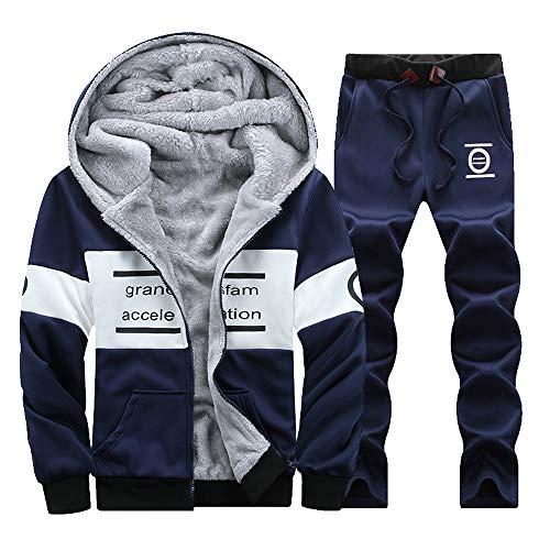 - NRUTUP Men's Active Hoodies SweatShirts Winter Zipper Thickening Leisure Suit Tops Pants Sets Sports & Outdoors (XL, Blue 2)