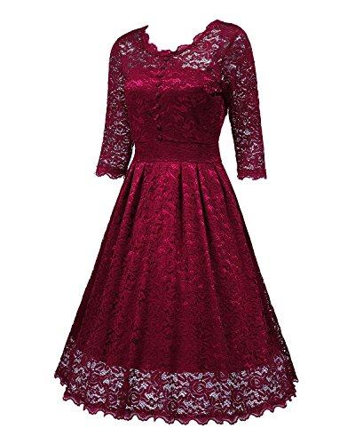 Femme Rond Robe 1 Manches de Col Soire Dentelle Vin Robe NALATI en 2 Rouge Elgant Vintage Bpnqqd