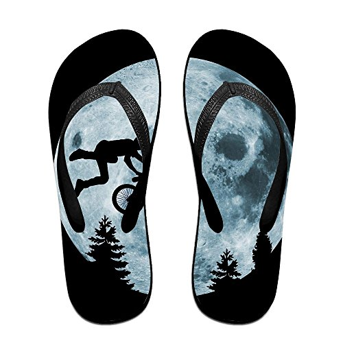 Unisex Boy Bike Moon Summer Strap Flip Flops Beach Slippers Platforms Sandal For Men Women Black bZ3bR