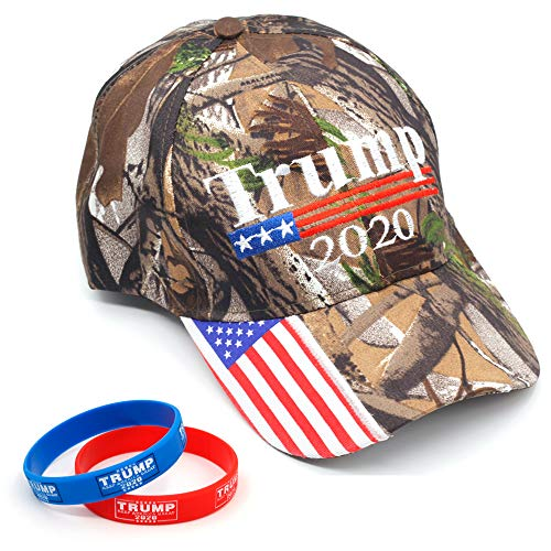 Donald Trump Hat and Bracelet for America 2020 Election Campaign Embroidery Cap for Men and Women (Camo 2020-B) (Hat Bracelet)