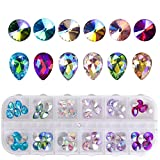 3D Nail Art Rhinestones DIY Nail Studs Glass Gems Stones for Nails Decoration with Box, 12 Mixed Color