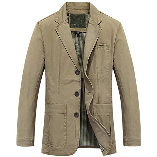 (Newbestyle Men's Casual Solid Cotton Twill Suit Three-Buttons Blazer Jacket Deep Khaki Medium)