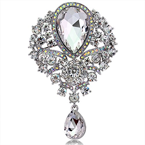Axmerdal Wedding Bridal Big Crystal Rhinestone Bouquet Brooch Pin for Women ()