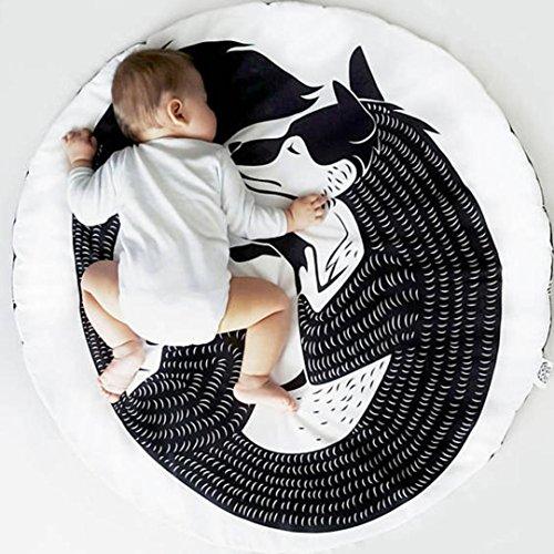 (Infant Baby Cartoon Playmat Creeping Mat Children's Rround Area Rugs Anti-slip Game Mat Blanket Kids Bedroom Decoration (D, Size: 95cmx 95cm/37.437.4