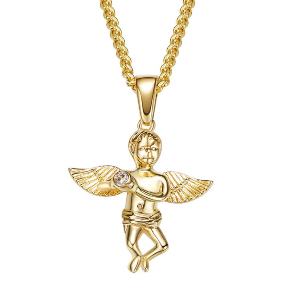 QWERST女性ネックレススターリングシルバーエンジェルペンダントシンプルファッション絶妙なネックレス最高の贈り物   B07NQ2TMS7
