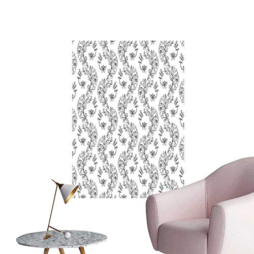 eea2f82f037 Black and White Wall Mural Wallpaper Stickers Scroll and Swirls Pattern  with Tiny Stems Full of Leaves and Lilies 3D Decorative Sticker Black Grey  ...