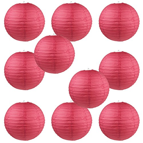 WYZworks Round Paper Lanterns 10 Pack (Red, 8) - with 8, 10, 12, 14, 16 option