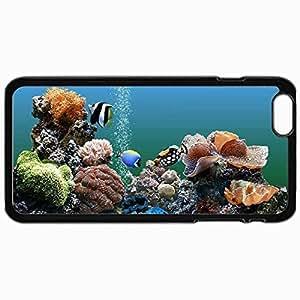 Customized Cellphone Case Back Cover For iPhone 6 Plus, Protective Hardshell Case Personalized Free Aquarium Backgrounds Windows Aquarium Black