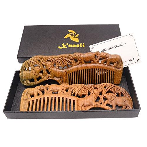 Xuanli 2pcs Natural SandalWood Comb Hair Care Anti Static Wooden Hair Massage Natural Brush Beard Comb