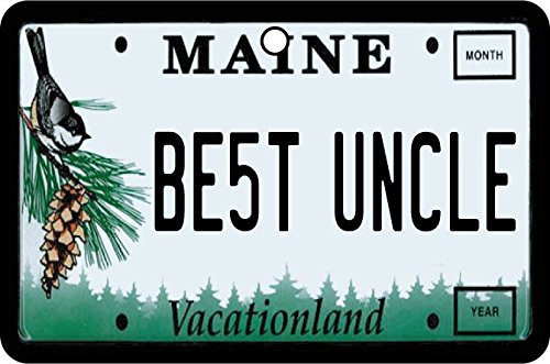 Personalised Message Plate (Maine - Best Uncle License Plate Car Air Freshener (Xmas Christmas Stocking Filler/Secret Santa Gift))