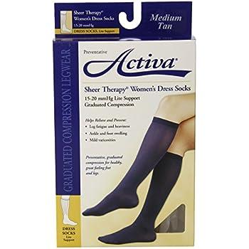 02f6d1b8f1 Amazon.com: Activa 15-20 mmHg Sheer Therapy Women's Socks, Tan ...
