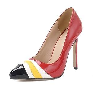 YINHAN Women's Treasure Dress Pump Pointed Toe High Heels-red-37