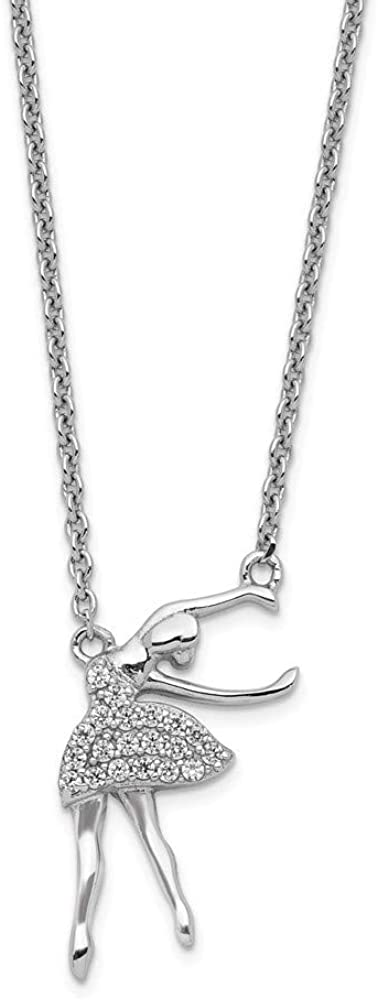 Ext Necklace 925 Sterling Silver Rhodium-plated Cubic Zirconia Ballerina With 2in 16 Inch